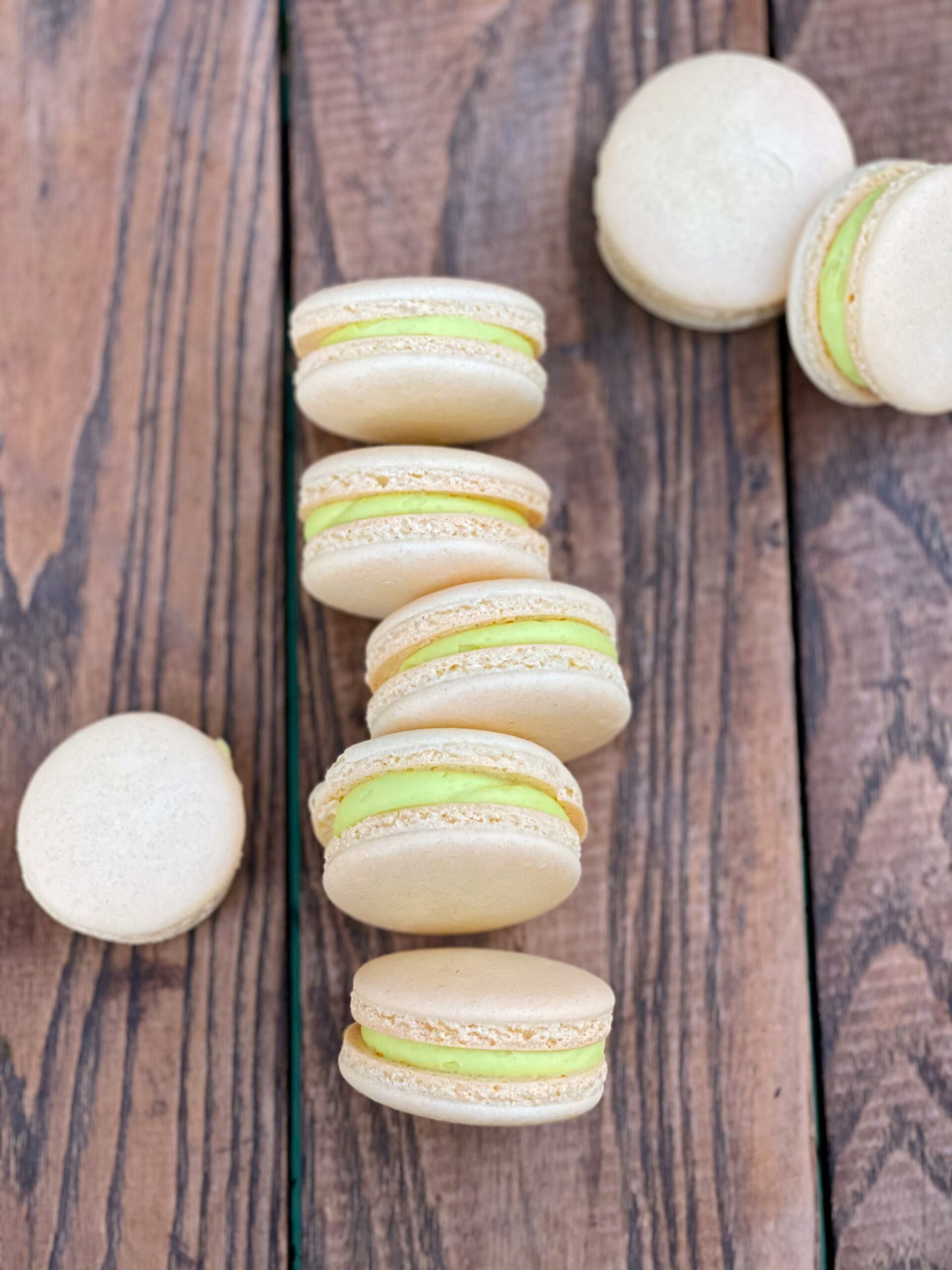 french macarons with green filling