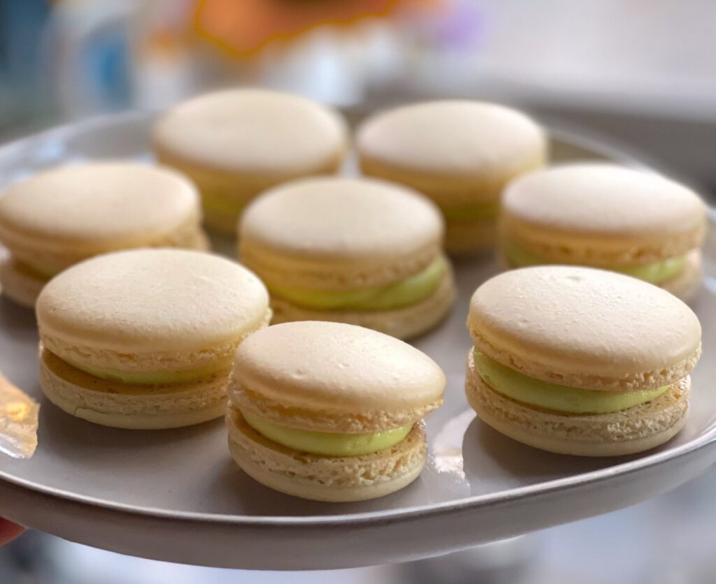 finished french macaroons on platter
