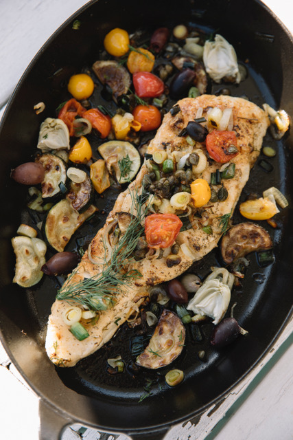 Mediterranean Whitefish with fresh vegetables in sautee pan
